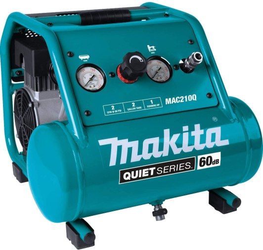 This image has an empty alt attribute; its file name is makita-mac210q-quiet-series-1-hp-2-gallon-oil-free-electric-air-compressor.jpg